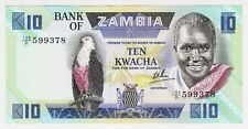 1980 Zambia 10 Kwacha Unc 599378 Paper Money Banknotes Currency