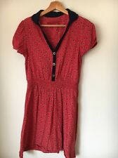 Next Size 10 Red Navy Short Sleeve Viscose Dress <T13106