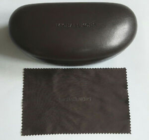 MICHAEL KORS LARGE BROWN SUNGLASSES CASE WITH CLEANING CLOTH