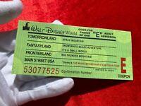 2008 Walt Disney World Authentic ADULT Green E Ticket 10-25-08 WDW TOUR MINT! F6