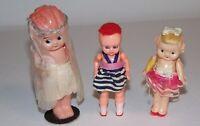 Bride Topper & Dress Celluloid Kewpie 3 Girl Dolls Vintage 1920s-30s