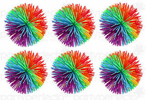 6 Rubber Fuzzy Koosh Balls - Pinata Toy Loot/Party Bag Fillers Childrens/Kids