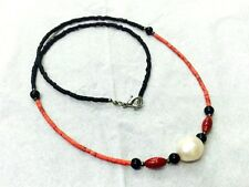 Afghan Natural Coral, Black Glass Tiny Seed Beads Necklace with Pearls Jewelry