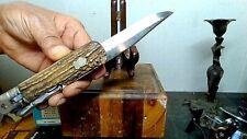 Antique Stag Folding Bayo Knife Ex Cond W/Orig. Sheath