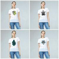 Women Girls Devil Series Print T-shirt Soft Cotton White Tops Short Sleeve Tees