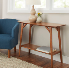 NEW' Reed Mid-Century Modern Console Table, Pecan