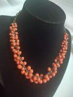 "Necklace VTG Orange & Gold Tone Glass Beads 1950-60 MCM 16"" Graduated Hook Clasp"