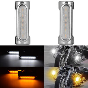 "1.25""Chrome Motorcycle Highway Crash Bar LED Light Switchback for Harley Victory"