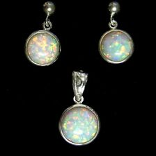 Sterling Silver Filigree Round Gilson Opal Pendant & Earrings Ladies gift Bridal