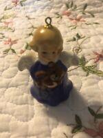 Vintage Goebel Angel Bell Christmas Tree Ornament Blue 1st Edition figurine