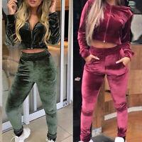 Femme Hiver Velours Survêtement Ensmeble Zipper Crop Top+Slim Pantalons Ensemble