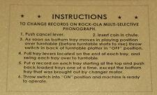 Instruction Card for Older Rockola Jukebox