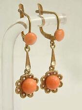 Ohrhänger in Gold 750 - Blüte mit Korallen von Ascione - Goldohrstecker Ohrringe