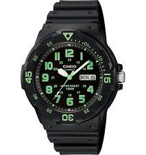 Casio MRW200H-3B Men's Black Resin Strap 100M Easy Reader Green Numerals Watch