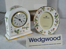 "Wedgwood "" Bone China Wild Strawberry ""Mantle clock & matching Picture Frame !!!"