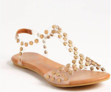 JEFFREY CAMPBELL PUFFER CLEAR ACRYLIC GLADIATOR SANDALS GOLD FLOWER STUDS 9 $150