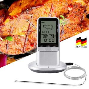 Digital Bratenthermometer Funk Grillthermometer Fleisch-Thermometer + Fühler DHL