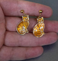 Vintage Textured Gold Tone & Orange Enamel Dangle Sitting Cat Clip Earrings