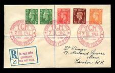 CZECHOSLOVAKIA WW2 FIELD POST on GB 1942 REGISTERED 5 stamps T.G MAZARYK PMKS
