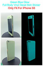 iPhone 5S * Green Blue * Glow in the dark Full Body Skin Shield
