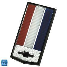 1986-87 Camaro Header Panel Emblem Red White Blue Bars Black Bowtie Silver Bkgd