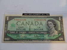 1967 Canada  dollar Bill Replacement note Low Serial # *N/O0117179