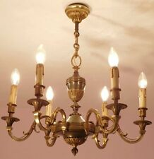 Superb Vintage French 6 Light Empire Chandelier in Bronze
