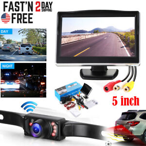 """Wired 5"""" Monitor Car Rear View System Backup Reverse Camera Night Vision Kit"""