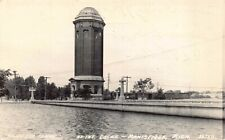 Real Photo Postcard Tower and Flume at the Locks in Manistique, Michigan~128805