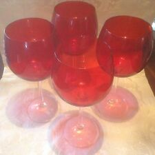 LENOX set of  4 BALLOON RUBY RED WINE GLASS clear stem