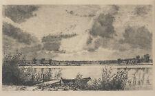 Louise Ravn Hansen, etching. Female artist. Lake landscape 1889