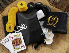 BROWNING Buckmark TRAVEL POKER SET in Pouch w/ White Gold Black CHIPS CARDS *New