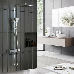 Duschsystem mit Thermostat Duscharmatur Regendusche Duschset Kopfbrause Chrom
