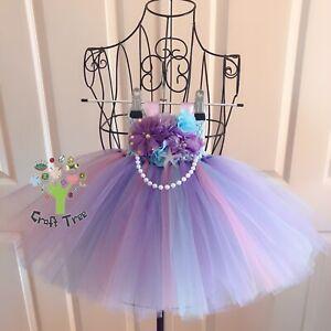 Handmade Mermaid Tutu Dress 1st Birthday Party Tulle Size 1 Baby 12m Dress