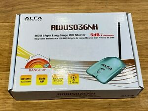 ALFA AWUS036NH 150Mbp/s 2.4GHz Long Range USB WiFi Dongle & Antenna - New in Box