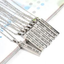Bangtan Boys BTS Silver Ring Necklace Stainless Steel KPOP Jung Kook Suga J-Hope