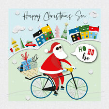 Happy Christmas Son Cool Santa on Bicycle Luxury Handmade 3D Xmas Greeting Card
