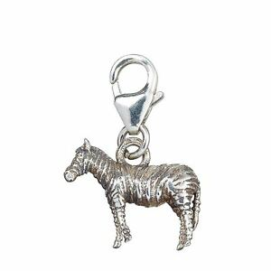 Sterling Silver Zebra Clip On Charm - (Equus Quagga)