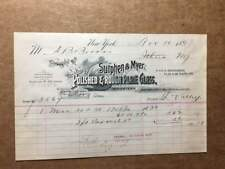 1893 Billhead for SUTPHEN & MYER, importers of polished & rough plate glass  NYC