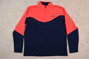 Under Armour Shirt Mens Large 1/4 Zip Golf Pink Blue