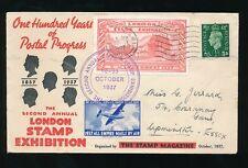 GB 1937 TIMBRO ESPOSIZIONE Illustrata + mailcoach + IMPERO Airmail etichette