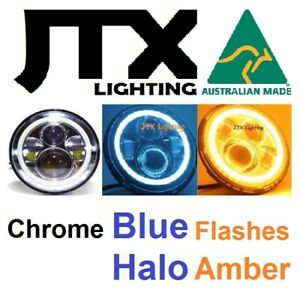 """1pr 7"""" CHROME Headlights BLUE Flashes AMBER fit Land Rover Defender 90 110 130"""