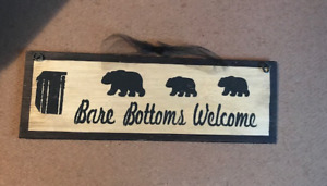 OUTHOUSE Bare Bottoms Welcome Country Bathroom wood sign black bear wall decor