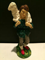 Vintage Shepard Carrying Lamb Composition Nativity Figure Italy