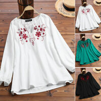 ZANZEA Womens Long Sleeve Lace-up Embroidered Tops Ladies Shirts Blouse Pullover
