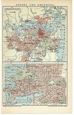 Sydney und Umgebung historische Landkarte um dem Jahr 1905