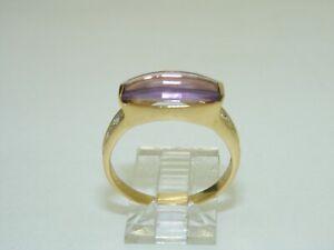 14k Yellow gold Checkerboard Amethyst Ring