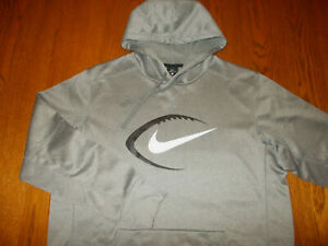 NIKE FOOTBALL HEATHER GRAY HOODED SWEATSHIRT MENS XL EXCELLENT CONDITION