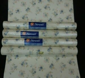Victorian Blue Rose Trailing Floral Beige Leaves #HM26306 (Lot of 4 Double Rolls