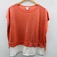 Club Monaco Women XS Capped Sleeve Layered Peplum Sweater Lightweight Orange 845